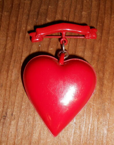 1940's  Celluloid Valentine PUFF Heart Pin