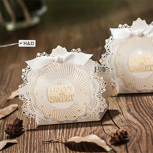 20 Laser Cut Luxury Wedding Party Sweets Cake Candy Gift Favors Boxes Ribbon
