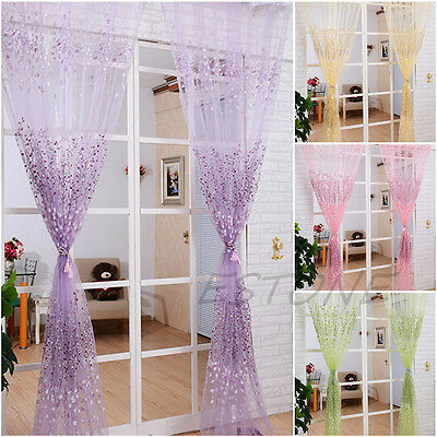 Pastoral Floral Voile Door Window Curtain Sheer Voile Panel Drapes Valance