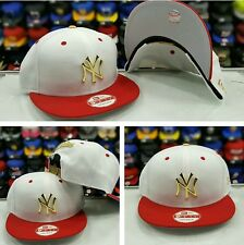 Matching New Era Gold Metal Badge White Red MLB New York Yankee snapback Hat