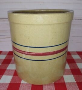 RRP Co. Blue & Red Striped 2-Quart Pottery Crock. Roseville, Ohio NICE CONDITION