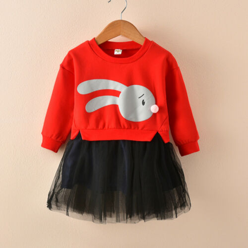 Kids Baby Girl Cartoon Bunny Princess Patchwork Sweatshirt  Tulle Dress  Clothes