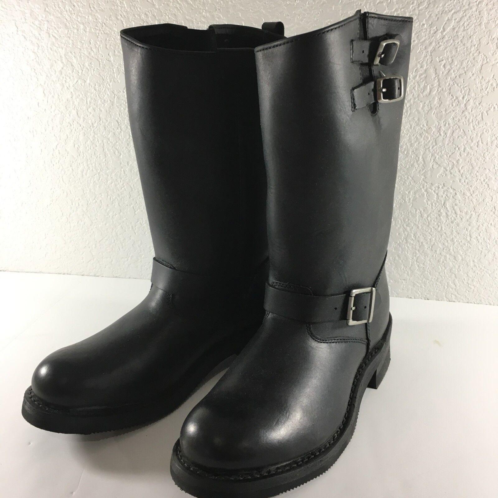botas negras para hombre River Road Cuero Tamaño 10.5 Bota de moto de doble hebilla de carretera