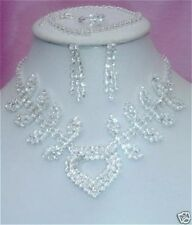 Stunning-New Diamante Necklace & Earring 4 PIECE SET set 5 Prom,wedding,costu