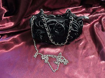 Damentasche Schwarz Satin Rose Handtasche