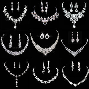 Crystal-Rhinestone-Necklace-Earring-Jewelry-Sets-For-Wedding-Bridal-Party-Prom