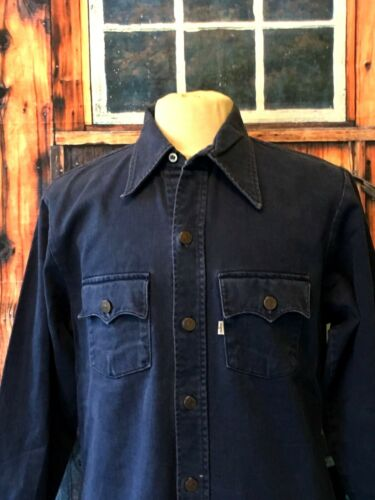 1960`s Large Work Blue Shirt Usa E Jacket Navy Levi`s Thick Denim Big Vintage 7xTUg7