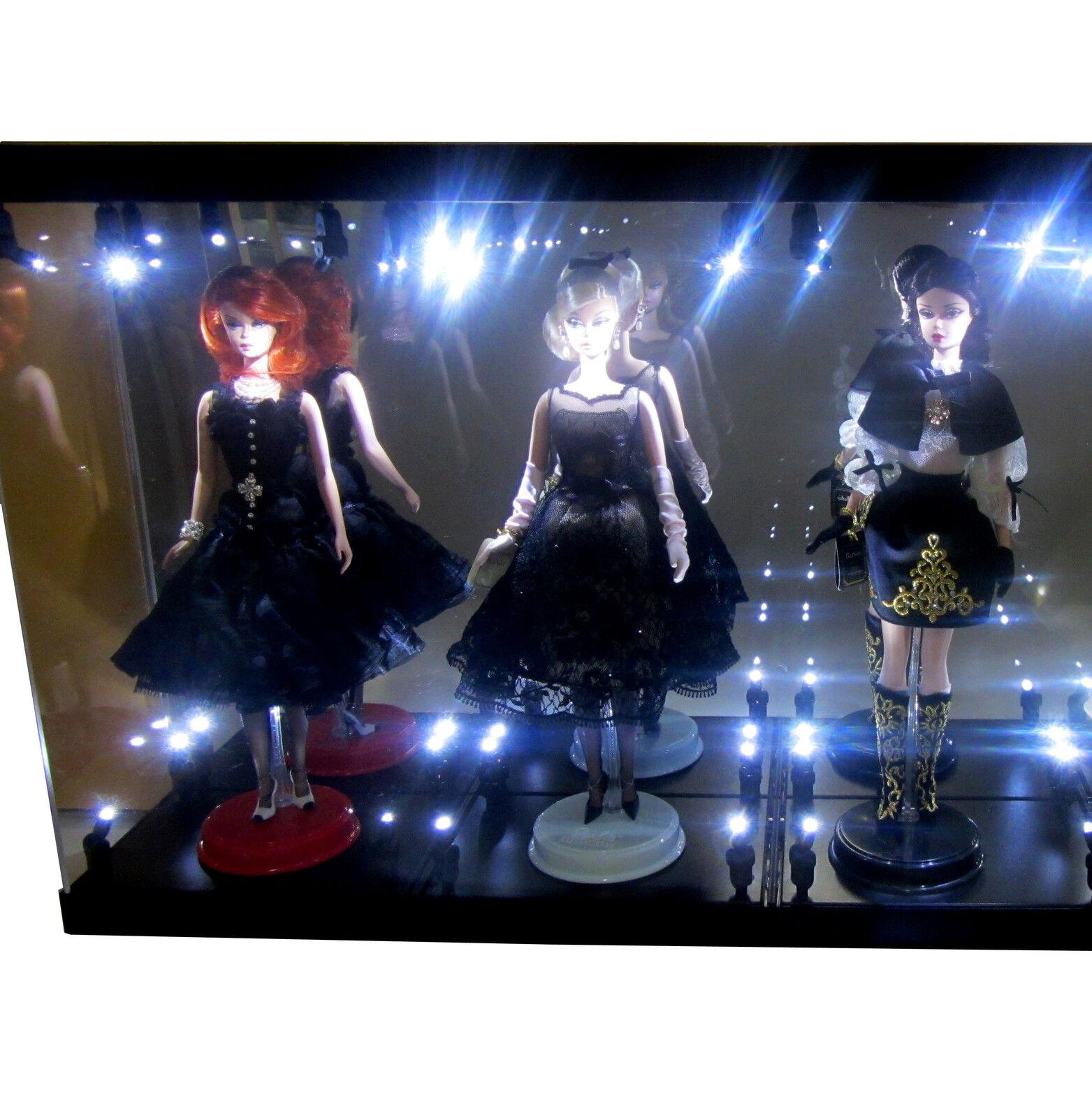 Acrylic DisJugar Case Light Box for THREE Silkstone Barbie Collection Doll 2018