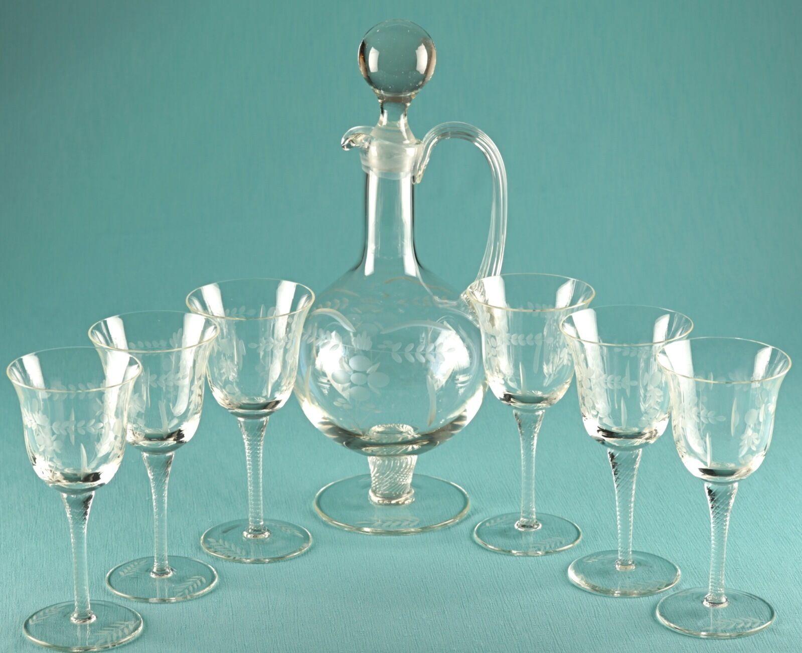 WMF edles Weinset Karaffe & 6 Gläser Weingläser floraler Schliff Blaumen Vintage | Vorzügliche Verarbeitung