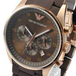 NEW-EMPORIO-ARMANI-AR5890-Mens-Watch-Brown-RoseGold-Chronograph-AR5890