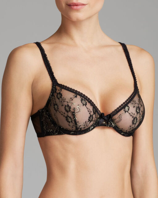 L'Agent By Agent Provocateur Monica Non Padded Plunge Bra Black/Gold