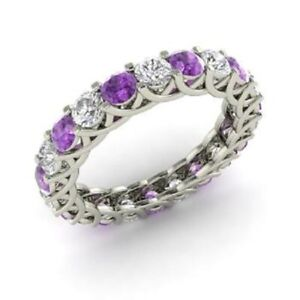 0.72 Ct Natural Diamond Amethyst Engagement Eternity Band 14K White Gold Size 4