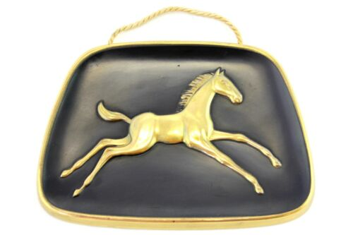 A vintage 1950's black and brass horse foal wall plaque. Retro