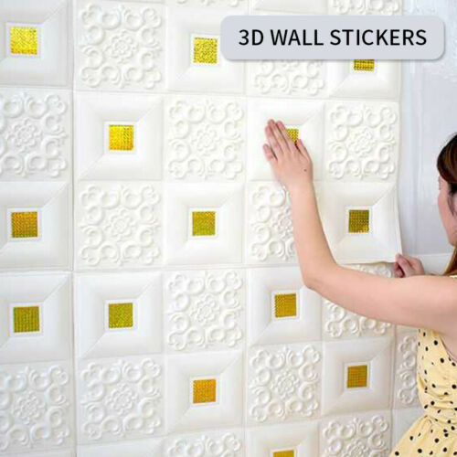 3D Tile Brick Wall Carved Wallpaper Foam Panel Sticker Self-Adhesive Home Decor