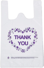 Thank You T Shirt Carry Out Bags Plastic Grocery Bags White Sturdy Handled
