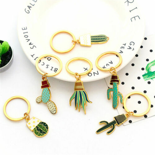 Cute Plant Cactus Green Charm Car KeyChain Key Ring Chain Ring Gift Accessories
