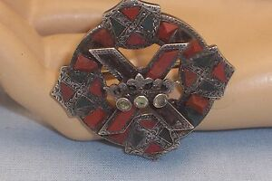 Antique Hallmarked Silver Celtic Agate Brooch TLC