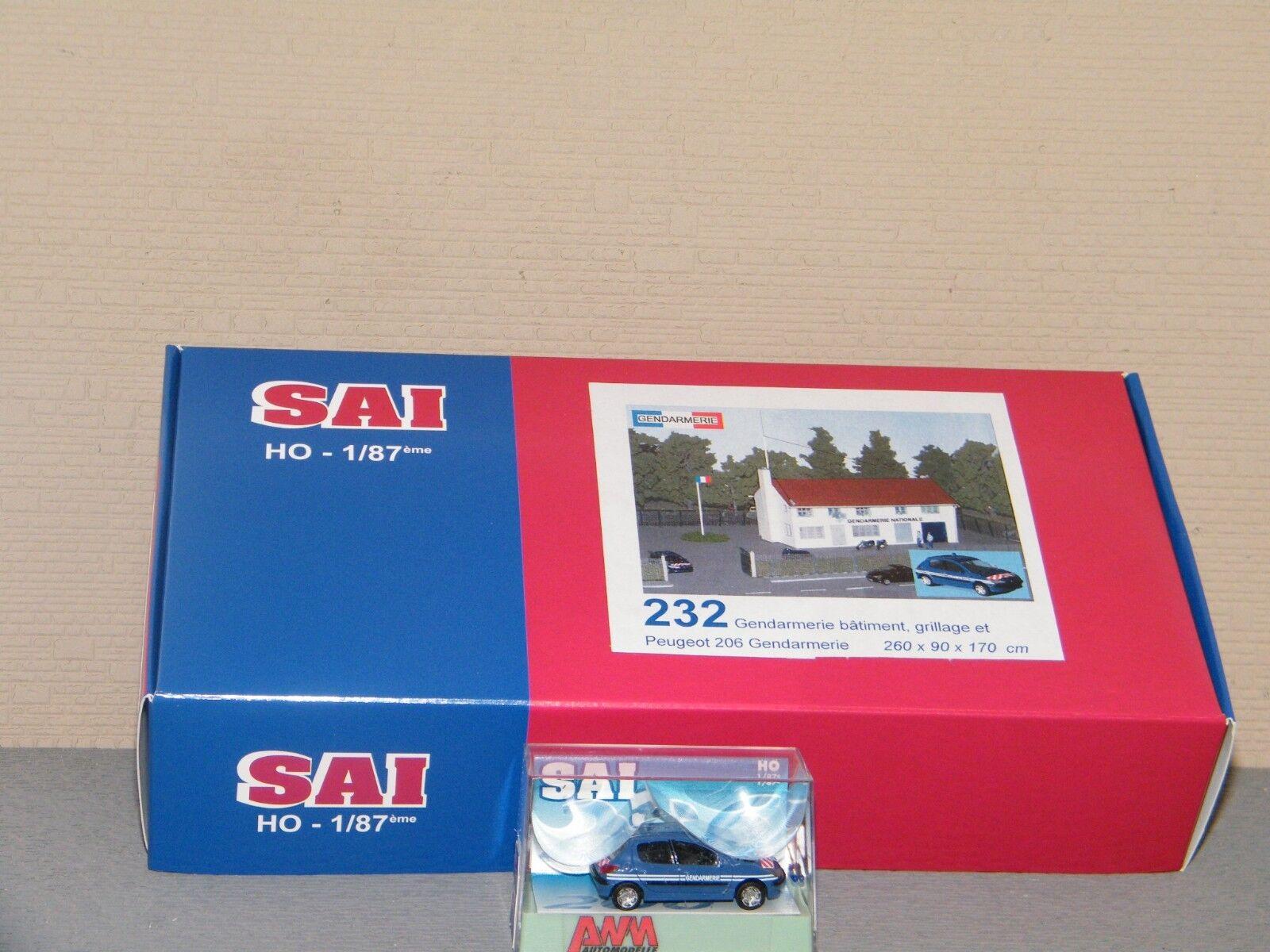 GENDARMERIE Batiment, grillage et miniature Peugeot 206 SAI 1 87 Ref 232