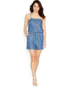 Levi-039-s-Womens-Spaghetti-Strap-Chambray-Romper-Star-Print-Blue