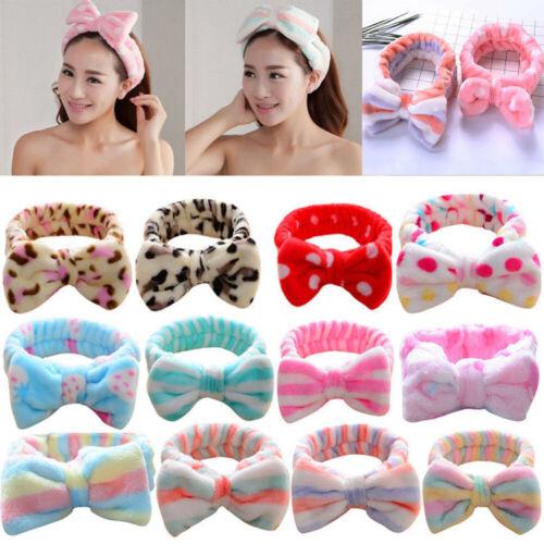 Femmes Filles Flanelle nœud doux cheveux fermoir Maquillage Lavage Bain Douche Hairband