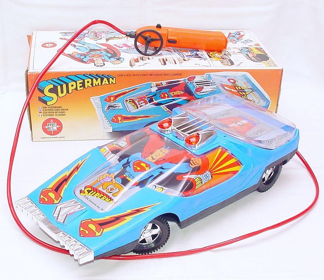 Reel  DC Comics SUPERMAN FUTURISTIC 42cm RC Batt. Op. CAR MIB`79 RARE