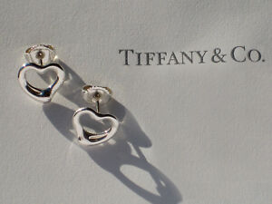d4361270d Tiffany & Co Elsa Peretti Sterling Silver Open Heart Earrings | eBay