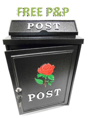!NEW RED ROSE Cast Aluminium Locking Metal Letter Post Box /& Keys Hand Painted