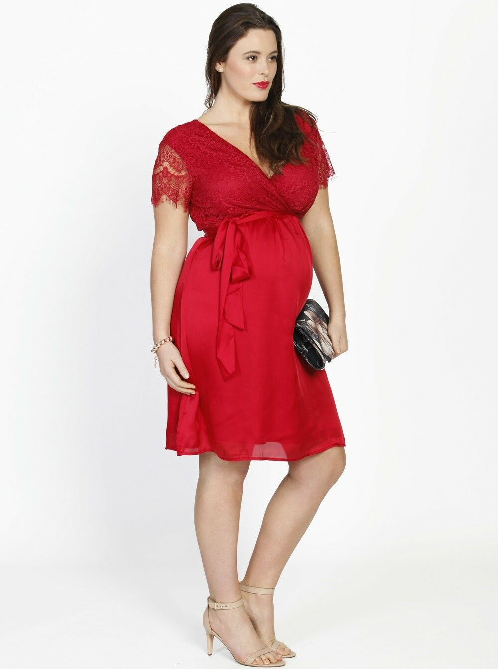 Emily Maternity Mid Mid Mid Length Lace Party Dress - Red 8e1bb1