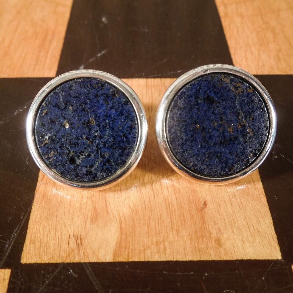 Vintage øreclips i sterling sølv samt Lapis Laz...