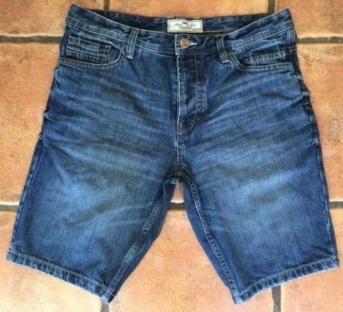 """Men`s New NEXT Denim Shorts 30/"""" Waist Dark Blue Authentic"""