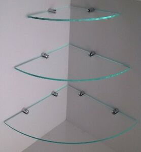 Image Is Loading Cascading Toughened Glass Corner Shelves With Chrome Fixing