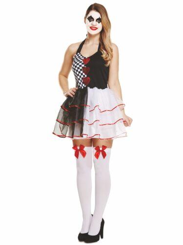 Women/'s Ladies Halloween Party Evil Jester Harlequin Fancy Dress Costume UK 8-12