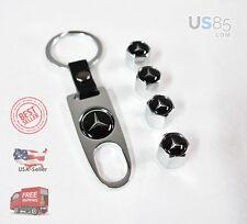 Universal Chrome CAR Wheel Tyre Tire Valves Dust Stem Air Caps Keychain Logo B1