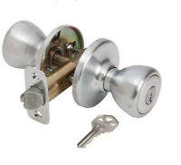 Keyed Entry Classic Knob Door Lock Satin Chrome Finish By Guard