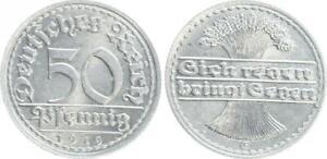 Inflationszeit Empire 50 Pfennig J.301 1919 E Seltenes Year/Mintmark Prfr St