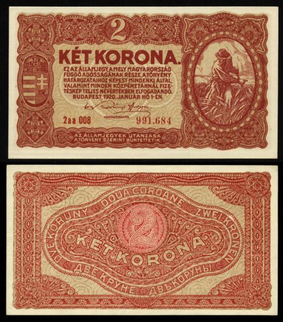 HUNGARY 2 KORONA 1920 P#58 BANKNOTE serial with DOT Ungarn UNC