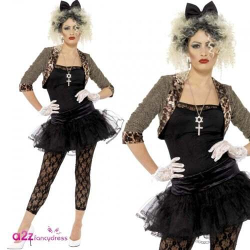Damen 80s Wildes Kind Madonna Pop Star Erwachsener Kostüm Fancy Dress Karneval