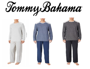 New Tommy Bahama Men's Long Sleeve Crew Neck Top /& Pant Pajama Set Large L Grey
