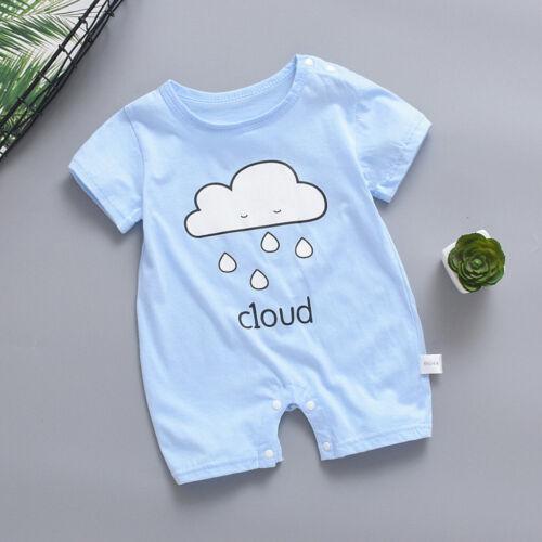 Newborn Baby Boy Girl Short Sleeve Sun Cloud Moon Print Romper Jumpsuit Clothes