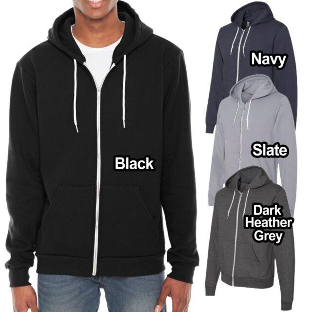 1 Dark Heather Grey//Navy American Apparel F497 Flex Fleece Zip Hoodie M 1 Navy
