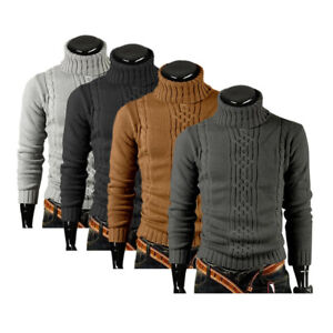 Mens-WINTER-Knitted-High-Roll-Turtle-Neck-Pullover-Sweater-Jumper-Tops-Knitwear