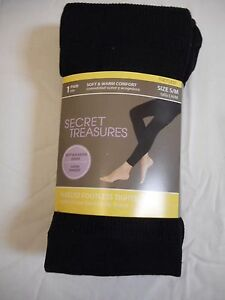 ae3e2ff2cf7fa Women's Secret Treasures Fleece Footless Tights Black Lines Size S/M ...