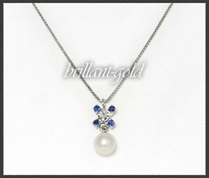 Diamant-Saphir-amp-Perlen-Damen-Collier-750-Weissgold-18-Karat-Anhaenger-amp-Kette