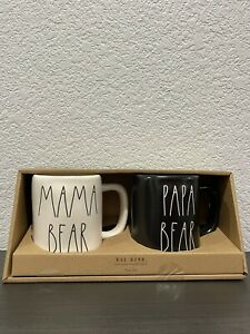Rae Dunn By Magenta White MAMA BEAR, Black PAPA BEAR Matte Finish Mug, Set of 2