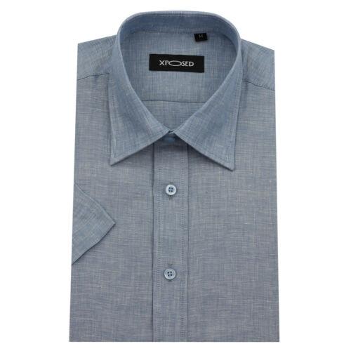Men's Cotton Linen Blend Short Sleeve Smart Casual Regular Fit Summer Shirts