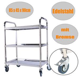 Edelstahl 3 Boden Kuchenwagen Rollwagen Abraumwagen Servierwagen Mit