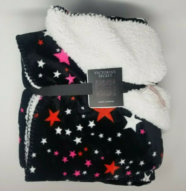 "Victorias Secret $68 Sherpa Blanket 50x60"" Black Colored Stars NWT"