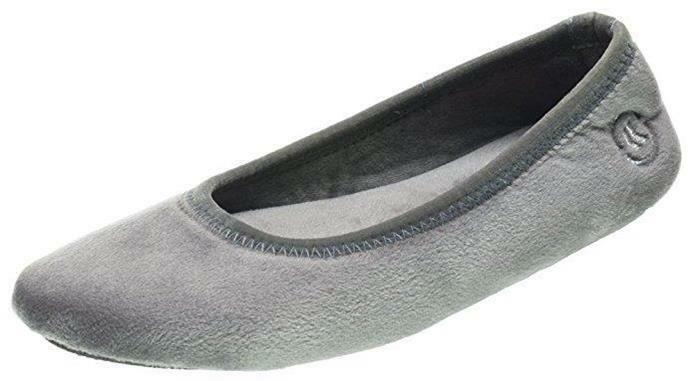 ISOTONER Women's Sonya Velour Ballerina with Sturdy Sole Ash Gray