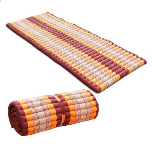 Kapok Yogamatte Yoga Matte Rollmatratze Thaimatte 200x80 Baumwolle Rot Orange
