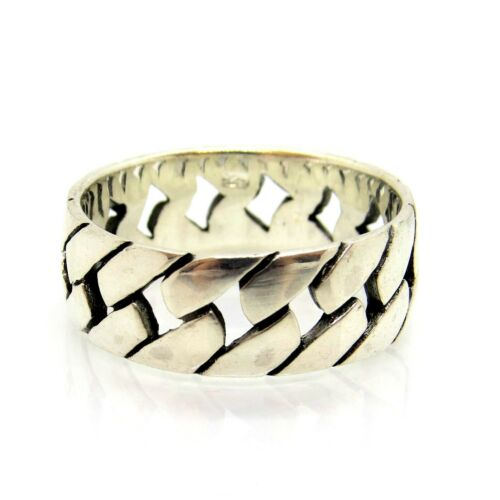 Wide Heavy Men/'s  925 Sterling Silver Band Ring Chain Link Sizes 8-13